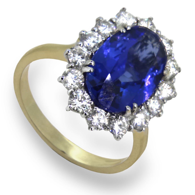 Oval Cut Tanzanite Diamond Cluster 18K Gold Ring