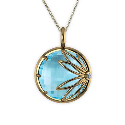 Enraptured Collection Sky Blue Topaz 18K Gold Pendant