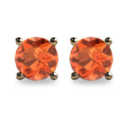 2ct Round Faceted Spessartine Garnet 18K Gold Stud Earrings