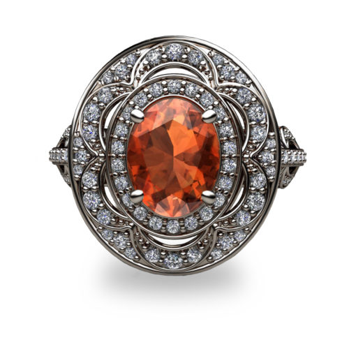 Mandarin Garnet and Diamond Platinum 950 Ring