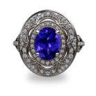 Tanzanite and Diamond Platinum 950 Ring