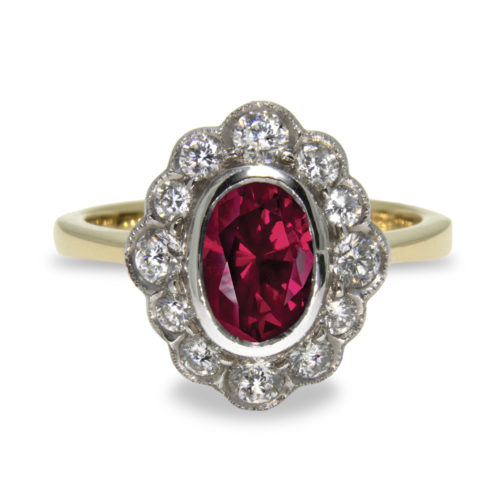 1.45ct Oval Ruby Diamond Halo 18K Gold Ring