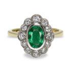 1.45ct Oval Emerald Diamond Halo 18K Gold Ring