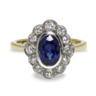 1.45ct Oval Sapphire Diamond Halo 18K Gold Ring