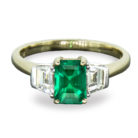 0.97ct Emerald & Tapered Baguette Diamond 18K Gold Ring