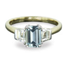 0.97ct Aquamarine & Tapered Baguette Diamond 18K Gold Ring