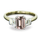 0.97ct Morganite & Tapered Baguette Diamond 18K Gold Ring
