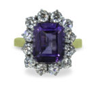 4ct Emerald Cut Amethyst 18K Gold Diamond Cluster Ring