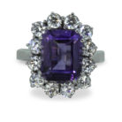4ct Emerald Cut Amethyst Platinum 950 Diamond Cluster Ring
