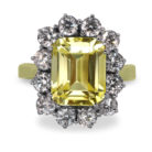4ct Emerald Cut Yellow Sapphire 18K Gold Diamond Cluster Ring