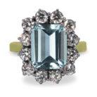 4ct Emerald Cut Aquamarine 18K Gold Diamond Cluster Ring