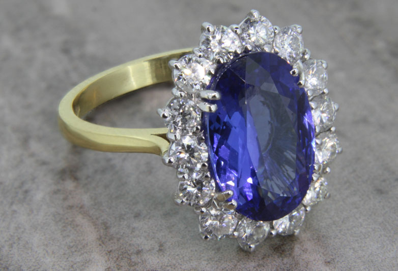 coloured gemstone engagement